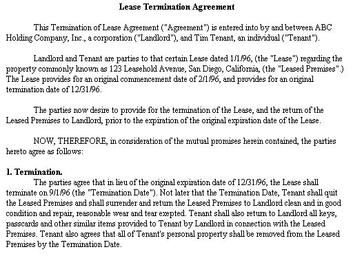 Example Document for Lease Termination Agreement - termination of lease agreement form