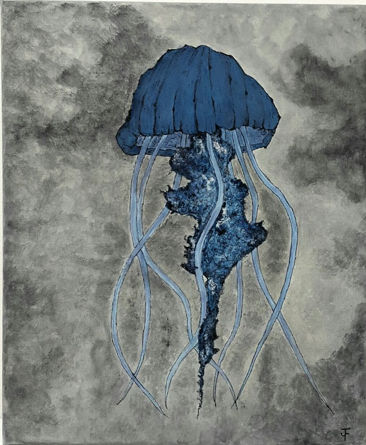 Jude Fellows  Jellyfish Acrylic on canvas  20x30cm