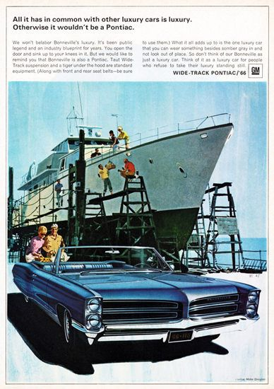 Pontiac Bonneville Convertible 1966 Motor Yacht - Mad Men Art: The 1891-1970 Vintage Advertisement Art Collection