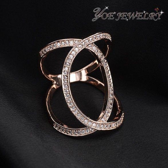 Панк стиль свадьба преувеличены кольца роуз позолоченные ааа швейцарский циркон твист кольца .