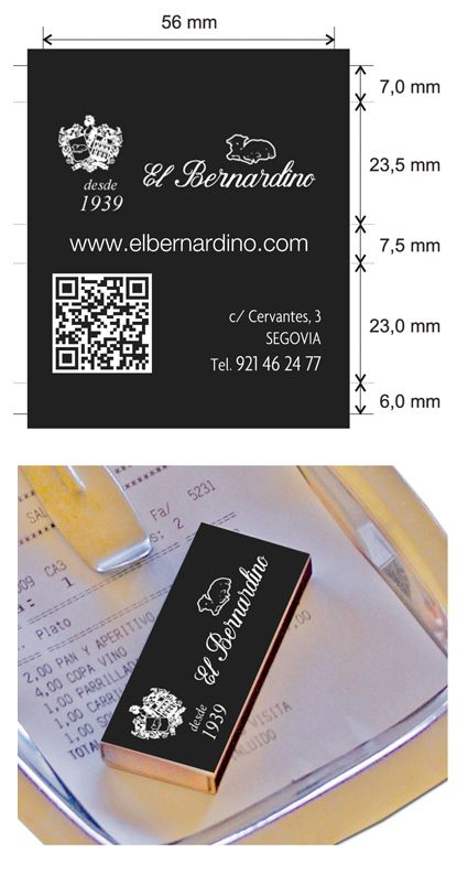 Propuesta diseño cajas de cerillas para el restaurante El Bernardino en Segovia.