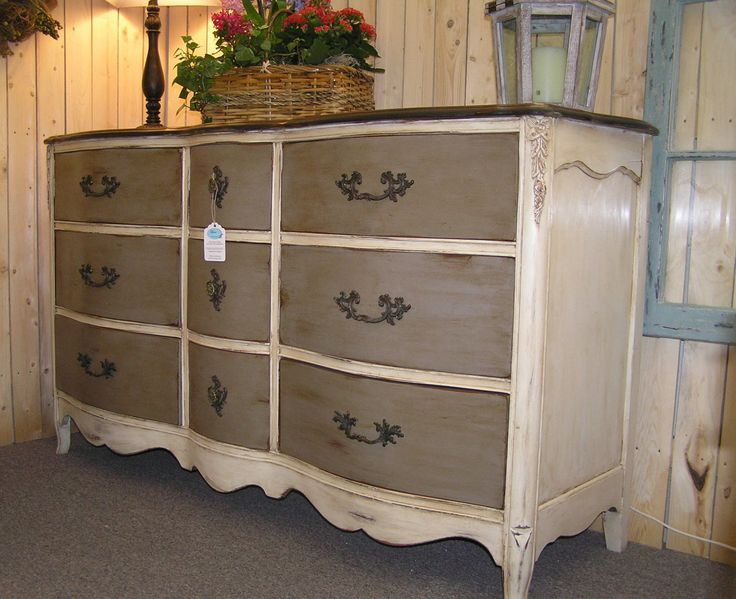 Vintage Solid Cherry French Serpentine 9 Drawer Dresser finished with ASCP Old White & Coco, distressed, then clear and dark waxed to bring out the details.
