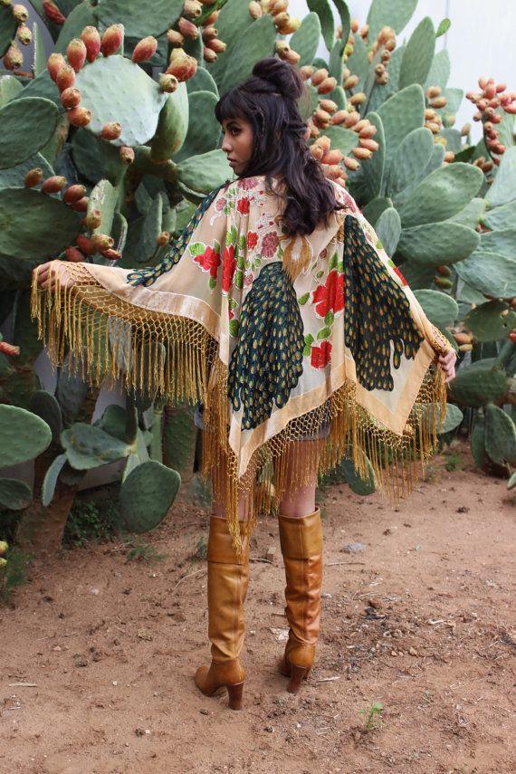 Silk Fringe Poncho  Velvet Kimono Poncho  by HausofDenimandLace