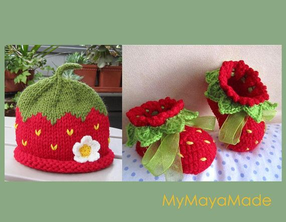 Intarsia Knitting Patterns For Children : Red Strawberry Baby Set Crochet Baby Booties and   by MyMayaMade, USD52.00 St...