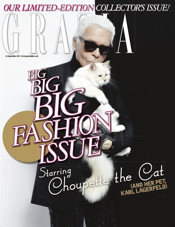 Grazia, September 2012 #cover | Starring Choupette the Cat and Her Pet, Karl Lagerfeld