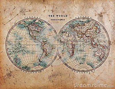 Old World Map in Hemispheres by Richard Thomas, via Dreamstime