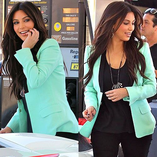 Don't necessarily like Kim, but you have to admit she's got style. Mint colored blazer.