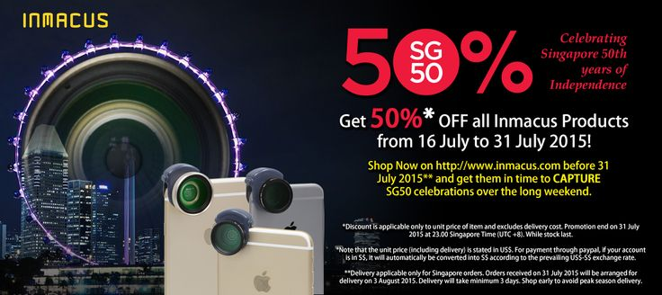 #Inmacus #SG50 promotion from 16 Jul - 31 Jul 2015. All inmacus products are on sales at 50% off to celebrate Singapore 50 years of independence. While stock last.