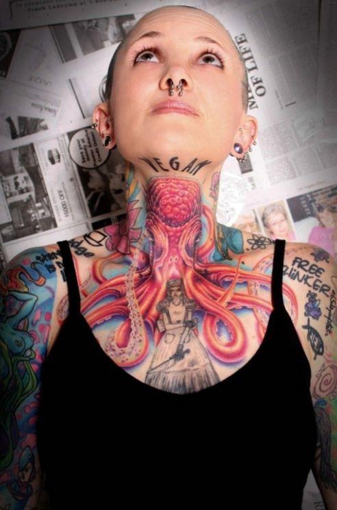 Girl tattoo vegan with