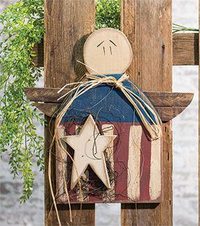 """KP Creek Gifts - Patriotic Angel Hanger, 18"""""""