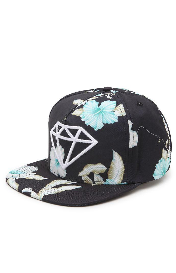 Diamond Supply Co DMND Rock Floral Snapback Hat