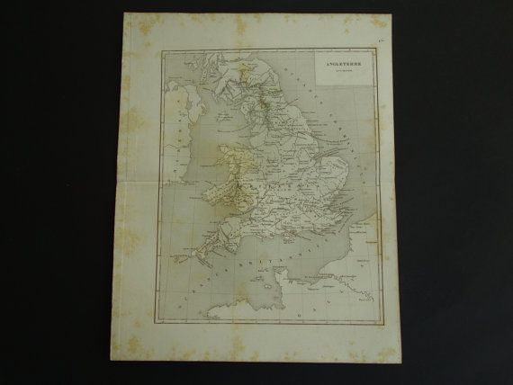 1852 ENGLAND old map of England in Roman times  by VintageOldMaps