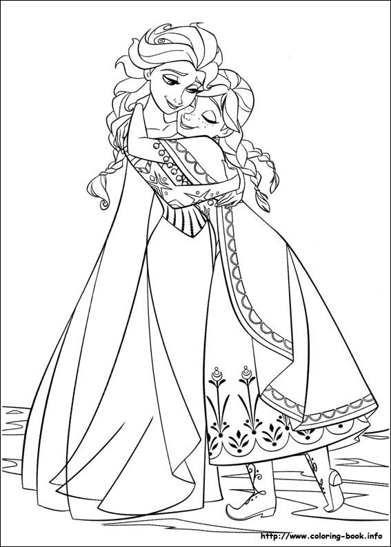 Frozen coloring picture; Elsa & Anna