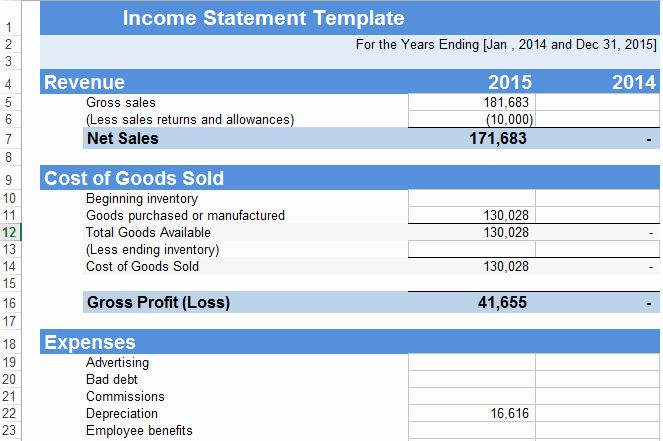 In E Statement Template Excel Free Statement Template Income