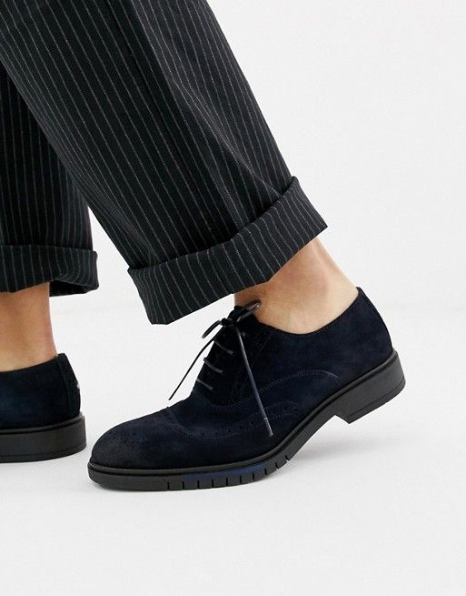 f866f7698 Tommy Hilfiger flexible dressy brogue suede shoes in navy