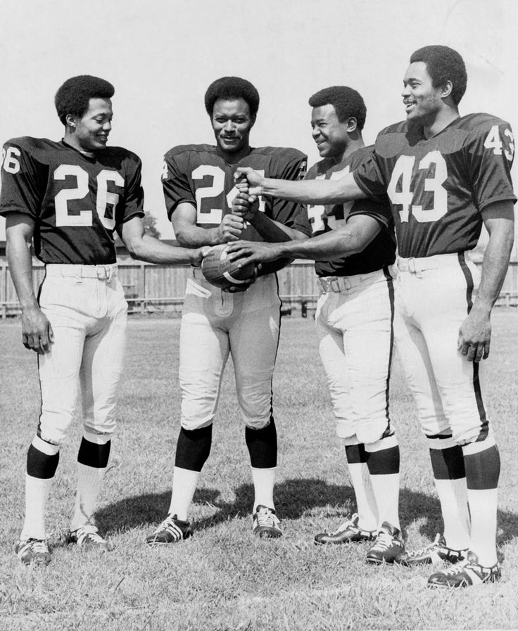 RAIDERS SUNDAY August 15, 1970 - The 1970 defensive Oakland Raiders lineup at their training camp facility in Santa Rosa. From left: Nemiah Wilson, Willie Brown, Dave Grayson, and George Atkinson. (Bill Crouch / Oakland Tribune)