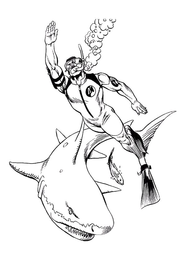 Coloriage requin plongeur sur Hugolescargot.com - Hugolescargot.com