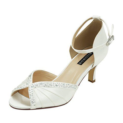 87d10229e ERIJUNOR E8805C Women Comfort Low Heel Ankle Strap Rhinestones Pleat  Dyeable Satin Wedding Dance Shoes White Size 10