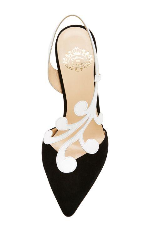 Black And White Lyra Slingback by Catherine de Medici for Preorder on Moda Operandi