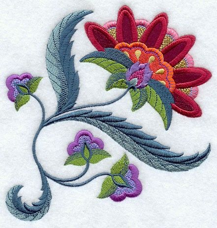 JACOBEAN FLOWER 6 - MACHINE EMBROIDERED QUILT BLOCKS (AZEB). $20.00, via Etsy.