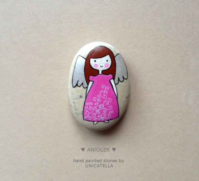 """Kamień+malowany+""""ANIOŁ+STRÓŻ""""+w+Unicatella+-+kamienie+ręcznie+malowane+na+DaWanda.com"""