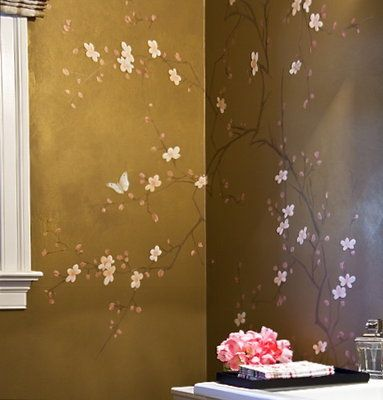 murals for walls | Mural for powder room. Cherry blossom design was painted on all walls ...
