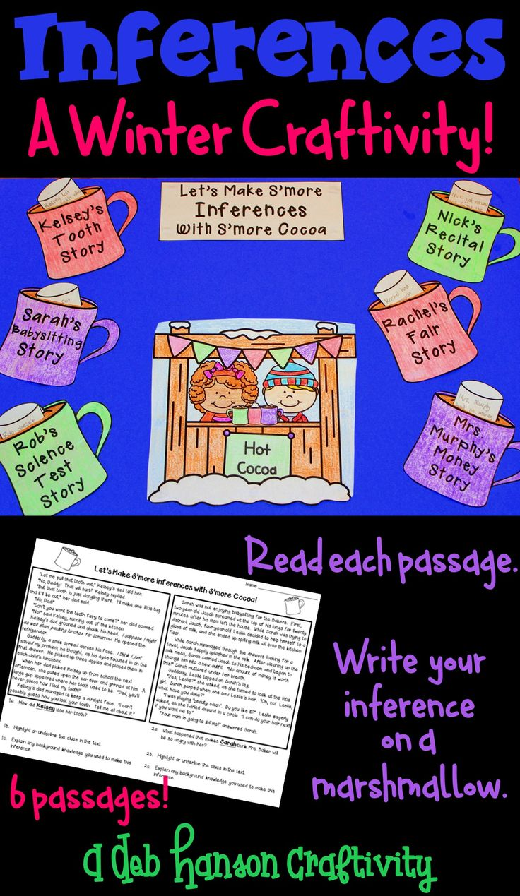A Winter Inference Craftivity! Read the six passages and answer the inferencing question. Then, write the inference on a marshmallow! Standards-based activity that makes a great winter bulletin board! It includes 3 inference worksheets!