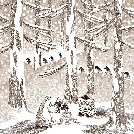 QUARTER REPORT MOOMIN TRIBUTE WORKS Moomin(ムーミン) ハンカチ ゆきだまの灯 ブラウン | Sumally