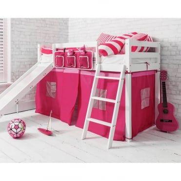 Oskar Midsleeper Shorty Cabin Bed in Pink with Slide