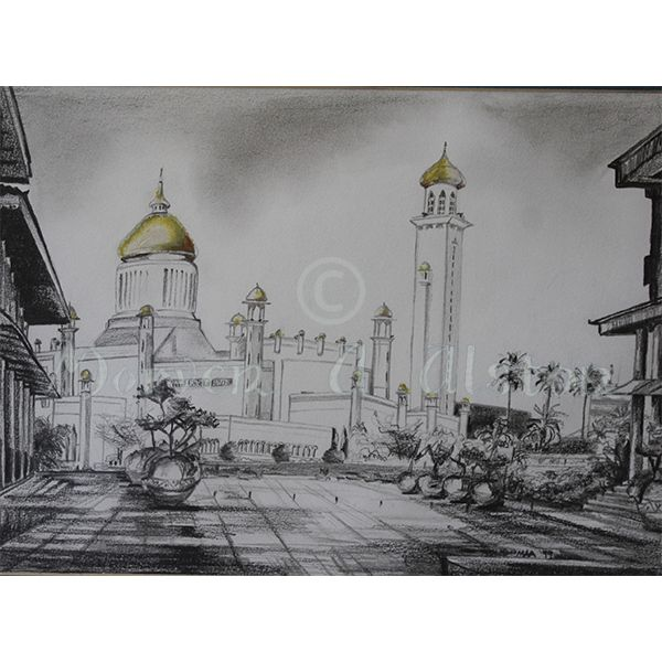 Majestic Mosque by Morven A. Alston. Artwork created in: Bandar, Brunei