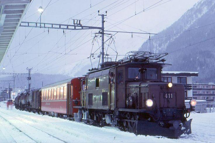 Switzerland - Baby 'Krokodil' Rhätische Bahn ( RhB) Ge 6/6 I 411 Davos Platz - freight and passengers train