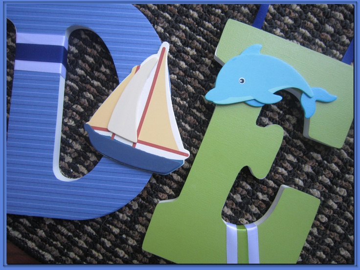 Nautical. Boats. Wall letters for boys Nursery or Bedroom Letters. Ocean. Fish. Blue. Green. Custom.. $12.50, via Etsy.
