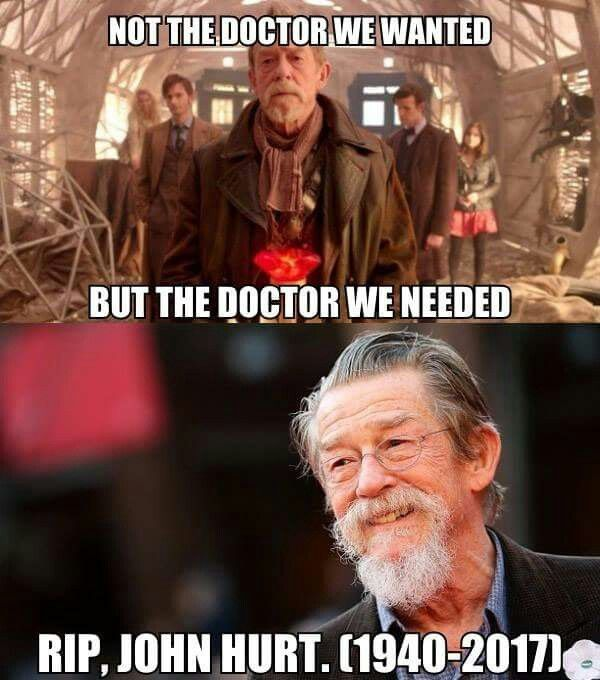 """John Hurt, """"you were the Doctor on the day it wasn't possible to get it right."""""""