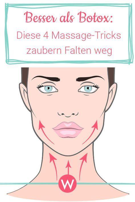 4 Massage Tricks für straffe Gesichtshaut Mit diesen vier Massagegriffen wirst du deine Falten an Kinn, Mund, Augen und auf der Stirn schnell los! Einfach regelmäßig anwenden. #beauty #antiaging #massage
