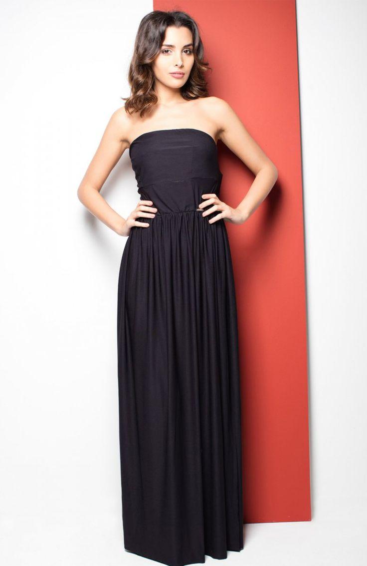 Katrus K252 sukienka czarna Elegancka długa sukienka, fason delikatnie rozkloszowany, góra dopasowana