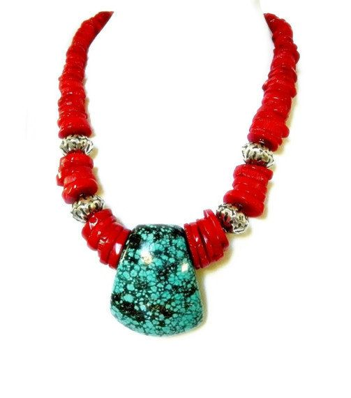 Red Coral Disc & Turquoise Necklace Statement by MsBsDesigns, $180.00