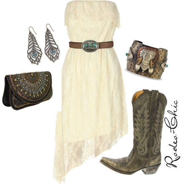 """""""Prairie Chic"""" by rodeo-chic on Polyvore, Old Gringo Nevada cowboy boot @oldgringoboots; strapless lace dress, western, bohemian, country"""