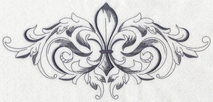 Fleur De Lis Corner | ... Embroidery Designs at Embroidery Library! - Baroque Fleur de Lis Spray