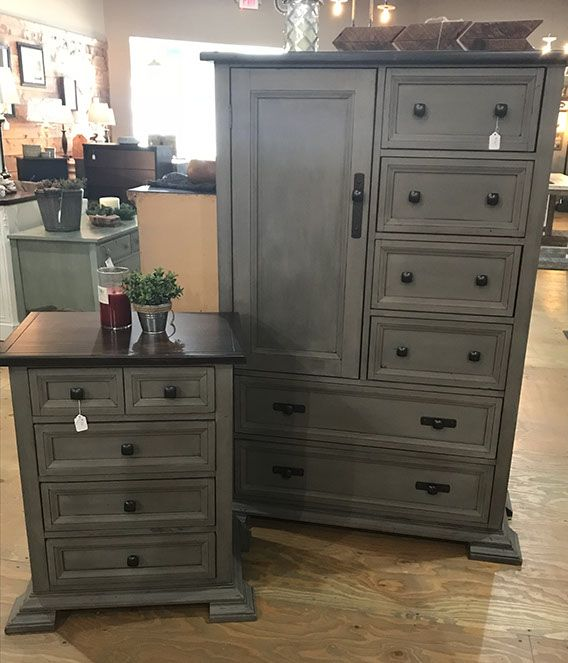 Armoire and nightstand painted in French Linen Chalk Paint® and finished in Clear and Black Wax®
