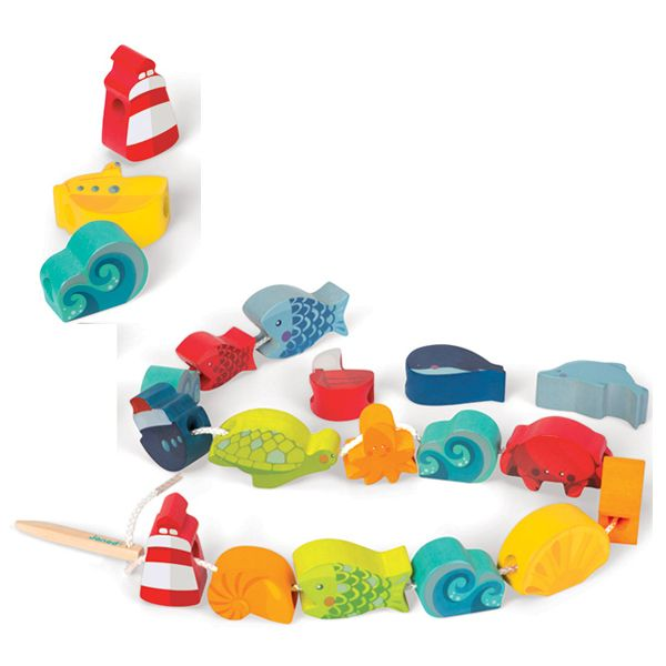 Lacing Ocean by Janod A great quiet activity in a cute carry bag that could be taken anywhere. The threading needle looks great for helping little hands. #limetreekids