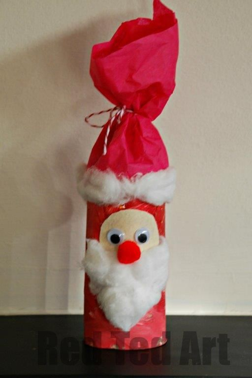 Craft roll Santa craft - craft roll, paint, tissue paper, cotton balls, pom poms, wiggly eyes, paper or felt scraps