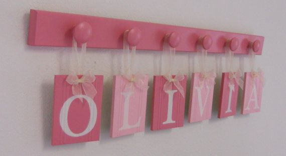 HAVE THE LETTERS ALREADY, LIKE THE WAY THESE ARE HUNG.: Baby Girls Names, Baby Name Signs, Baby Girl Names, Crafts Ideas, Baby Names Signs, Baby Ideas, Names Banners, Baby Shower Gifts, Baby Stuff