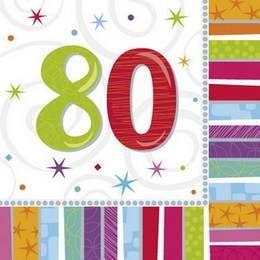 Een pakje met 16 grote servetten bedrukt met het getal 80. Afmeting: 32.7 x 32.7cm. verjaardag 80-jaar-versiering
