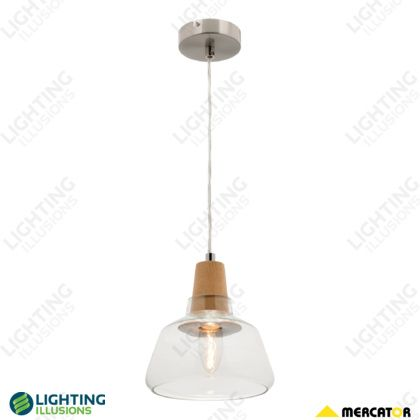 Small Laya Natural Timber Clear Glass Pendant Light - Shop - Lighting Illusions Online