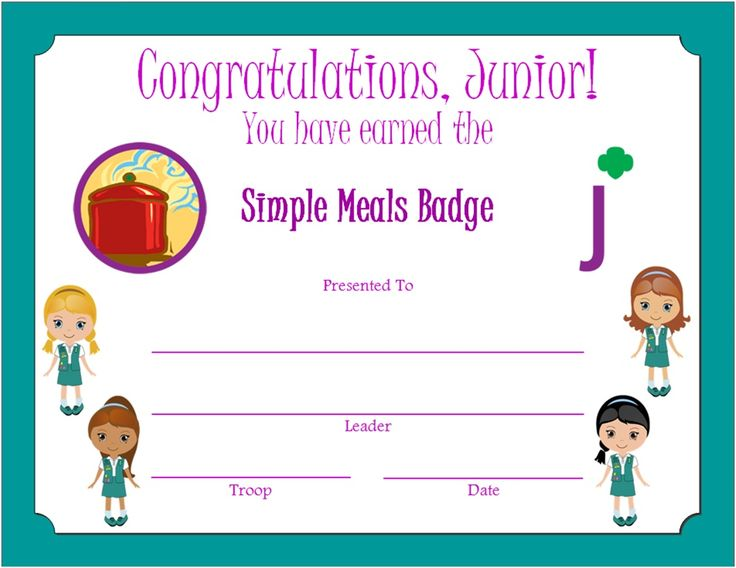 Junior Simple Meals Badge Certificate