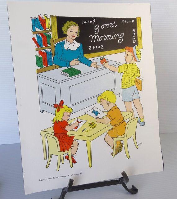 Vintage 1958 Teacher School Poster Educational Classroom Community Helpers Series Hayes School Publishing Co Usa Treasury Item School Posters Teacher Favorite Things Teacher Posters
