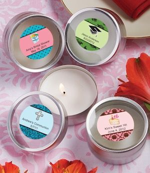 Personalized Themed Round Travel Candles (FashionCraft 4705ST_Gen) | Buy at Wedding Favors Unlimited (https://www.weddingfavorsunlimited.com/personalized_themed_round_travel_candles.html).