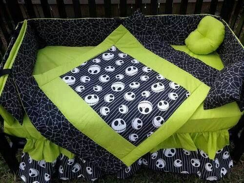 Jack Skellington crib. And I love black and lime green together
