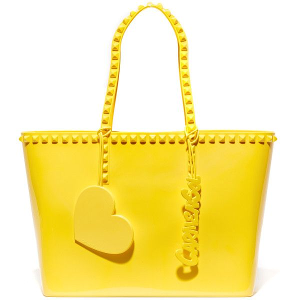 ONE by Carmen Sol Seba Mid Tote (£130) ❤ liked on Polyvore featuring bags, handbags, tote bags, yellow, tote purses, studded tote, studded tote bag, logo tote bags and handbags totes