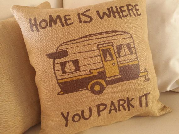 Home is where you park it. Fun decor for your travel trailer or RV camper. Looking for RV Gifts? This vintage trailer graphic is the perfect gift #vintagetraveltrailers